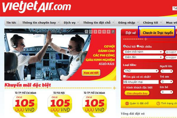 """Bạn truy cập vào website: VietJetAir (.com) và lựa chọn """"Check in Trực tuyến"""" bên phải màn hình"""