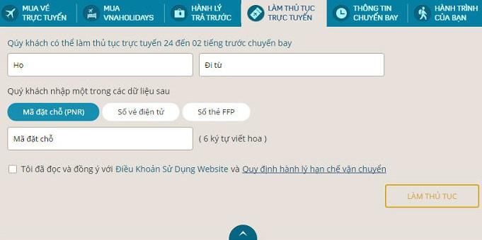 Hướng dẫn check in trực tuyến Vietnam Airlines.