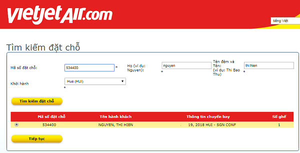 Kiểm tra từ website chính thức của Vietjet Air: